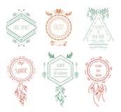 Boho tribal hipster labels stock illustration