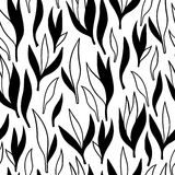 Boho tribal leaves collection. Hand-drawn ornamental lineart collection. Vector black and white nature leaves chic boho tribal illustration set Stock Image