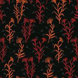 Boho Wildflower Blooms All Over Print Vector. Colorful Floral. Stem Seamless Repeating Pattern. Black Red Folk Background. Hand Drawn Fashion Prints, Wallpaper royalty free illustration