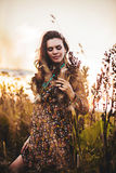 Boho woman in field royalty free stock image