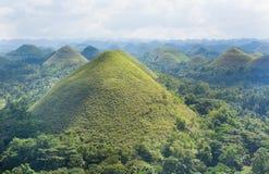 巧克力小山风景视图在Bohol海岛的 库存图片