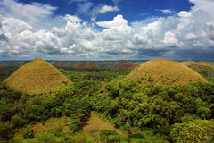 Bohol Chocolate Hills panorama. A panorama of the famous Bohol Chocolate Hills, a very prominent tourism landmark in the Philippines, colorful and under a Royalty Free Stock Photography