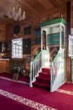 Wooden Tatar mosque interior in Bohoniki, Poland. BOHONIKI, POLAND -  MAY 03, 2018: Wooden tatar-mosque interior from the 18th century. The decorations and Stock Photography