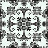 Bohoornament, textuur zwart-wit Abstract bloemeninstallatie natuurlijk Naadloos patroon Uitstekende decoratieve elementen Etnisch vector illustratie