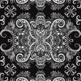 Bohoornament, textuur zwart-wit Etnisch zwart-wit ornament Abstract bloemeninstallatie natuurlijk Naadloos patroon Uitstekend dec Stock Fotografie