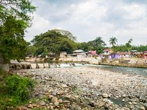 Bohorok River at low tide view from Ecolodge Bukit Lawang. A beautiful Bohorok River at low tide view from Ecolodge Bukit Lawang, Indonesia. Bukit Lawang is Royalty Free Stock Image