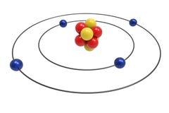 Bohr model Berylowy atom z protonem, neutronem i elektronem, Fotografia Royalty Free