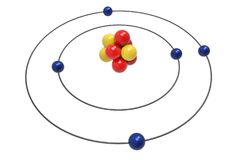 Bohr model of Boron Atom with proton, neutron and electron. Science and chemical concept 3d illustration Royalty Free Stock Image