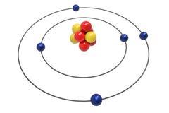 Bohr model Boron atom z protonem, neutronem i elektronem, Obraz Royalty Free