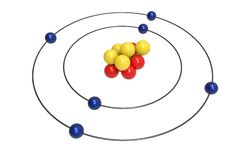 Bohr model of Carbon Atom with proton, neutron and electron. Science and chemical concept 3d illustration Royalty Free Stock Images