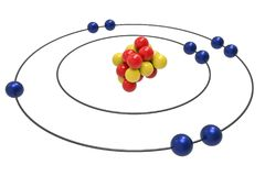 Bohr model of Fluorine Atom with proton, neutron and electron. Science and chemical concept 3d illustration Stock Photos