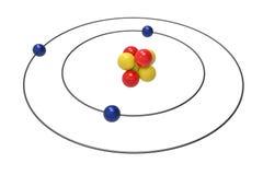 Bohr model litu atom z protonem, neutronem i elektronem, Obraz Stock