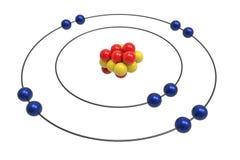 Bohr model Neonowy atom z protonem, neutronem i elektronem, Obrazy Royalty Free