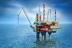 Bohrende Offshoreplattform im Meer. Stockfoto