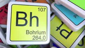 Bohrium Bh在堆阻拦化学元素块的周期表 3d翻译 库存照片