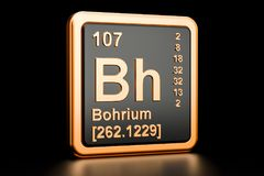 Bohrium Bh chemical element. 3D rendering. Bohrium Bh, chemical element. 3D rendering isolated on black background vector illustration