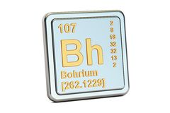 Bohrium Bh, chemical element sign. 3D rendering. Isolated on white background stock illustration