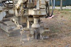 Bohrloch für Bodenprüfung Stockbild