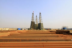 Bohrturm in einem Eisenbergwerk, China Stockfoto