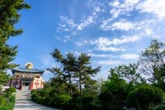 Bohyunsa-Tempel mit großer Buddha-` s Bild-Kopfstatue in Südkorea stockbilder