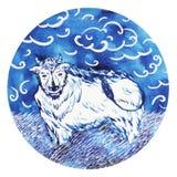 Boi, ano novo feliz do zodíaco chinês do touro, aquarela que pinta mínima Foto de Stock