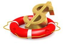 Boia de vida com sinal de dólar Foto de Stock Royalty Free