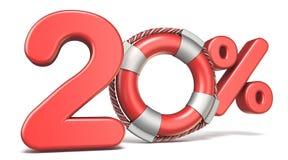 Boia de vida sinal de 20 por cento 3D ilustração stock