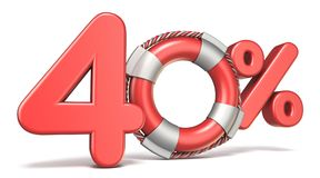 Boia de vida sinal de 40 por cento 3D ilustração royalty free