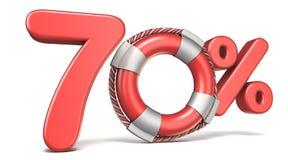 Boia de vida sinal de 70 por cento 3D Fotos de Stock