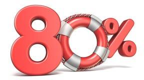 Boia de vida sinal de 80 por cento 3D ilustração stock