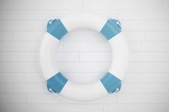Boia salva-vidas azul na parede de madeira branca ilustração 3D Fotos de Stock Royalty Free