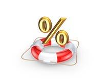 Boia salva-vidas e símbolo dos por cento. Imagens de Stock