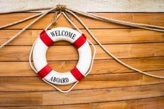 Boia salva-vidas em um barco imagem de stock royalty free