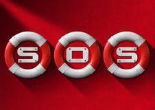 Boia salva-vidas vermelhos e brancos do conceito da ajuda - Imagens de Stock