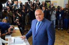 Boiko鲍里索夫,领导中心权利GERB表决在索非亚2014年10月5日 建造者 免版税库存图片