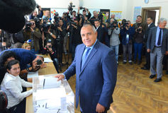Boiko Borisov, leader centre right GERB vote in Sofia Oct 5, 2014. Bulgaria. Boiko Borisov, leader centre right GERB vote in Sofia October 5, 2014. Bulgaria Royalty Free Stock Photography
