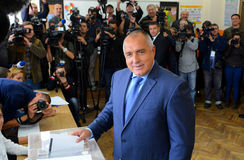 Boiko Borisov, leader centre right GERB vote in Sofia Oct 5, 2014. Bulgaria Royalty Free Stock Images
