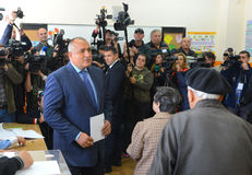 Boiko Borisov, vote de la droite GERB de centre de chef en Sofia Oct 5, 2014 bulgaria images stock
