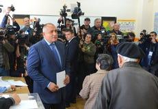 Boiko Borisov, voto de la derecha GERB del centro del líder en Sofia Oct 5, 2014 bulgaria Imagenes de archivo
