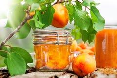 Boil apricot, yellow smoothie Royalty Free Stock Photos