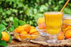 Boil apricot, yellow smoothie Stock Photo