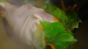 Boil chicken with vegetable stock footage