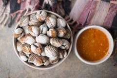 Boil cockle with spicy sauce. Selective focus Royalty Free Stock Image