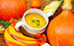 Boil cream of pumpkin soup Stock Images