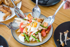 Boil egg salad. And spoon for thai style food royalty free stock image