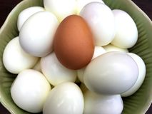 Boil eggs in green ceramic bowl on wooden table. royalty free stock photos