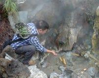 Boil eggs in hot spring in tengchong, yunnan, china Royalty Free Stock Image