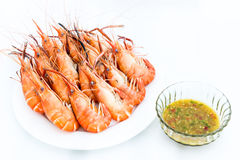 Boil Giant river prawn , shrim and Seafood sauce Royalty Free Stock Photo
