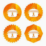 Boil 1 minute. Cooking pan sign icon. Stew food. Boil 1 minute. Cooking pan sign icon. Stew food symbol. Triangular low poly buttons with flat icon. Vector royalty free illustration