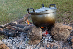 Boil pot. By wooden fire Stock Images